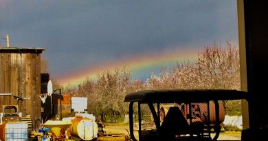 Fotografía de un arcoíris tomada desde California, Estados Unidos