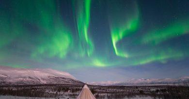 Auroras boreales fotografiadas desde Abisko, Suecia
