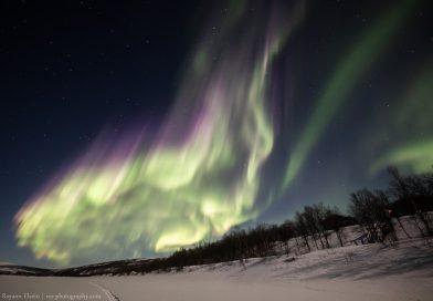 Foto de auroras boreales tomada desde Utsjoki, Finlandia