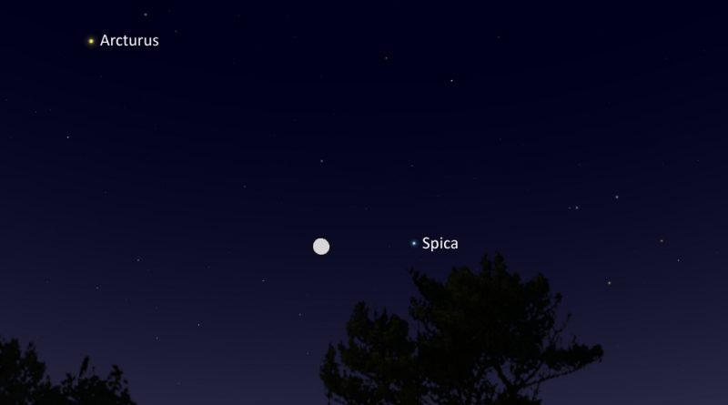 La conjunción de la Luna y la estrella Spica será visible la noche del 22 de marzo