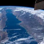 El mar de Cortés fotografiado desde la Estación Espacial Internacional