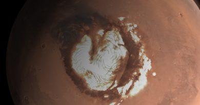 Descubren enormes capas de hielo debajo del polo norte marciano