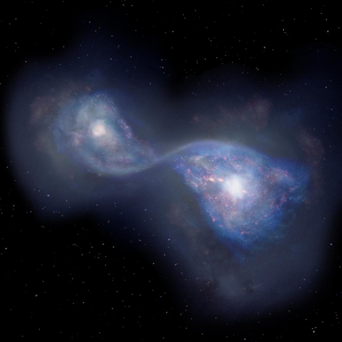 Astrónomos observan una colisión galáctica del Universo primitivo