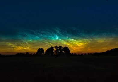 Imagen de nubes noctilucentes tomada desde Hemmoor, Alemania