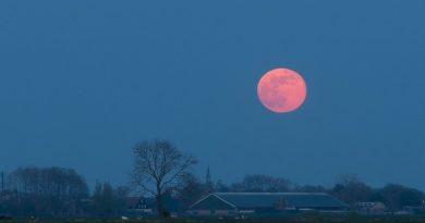 La salida de la Luna fotografiada desde Bleskensgraaf, Países Bajos