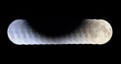 Imagen de la secuencia del eclipse parcial de Luna tomada desde Hungría