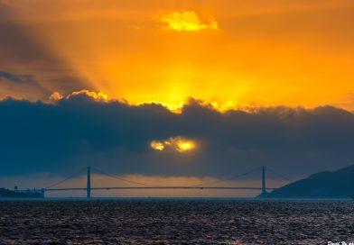 Imagen de rayos crepusculares tomada desde Berkeley, California