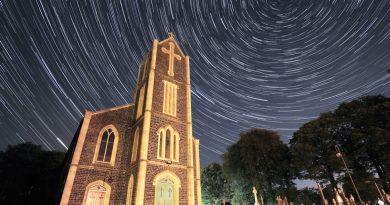 Imagen de rastro de estrellas tomada desde Swatragh, Irlanda del Norte