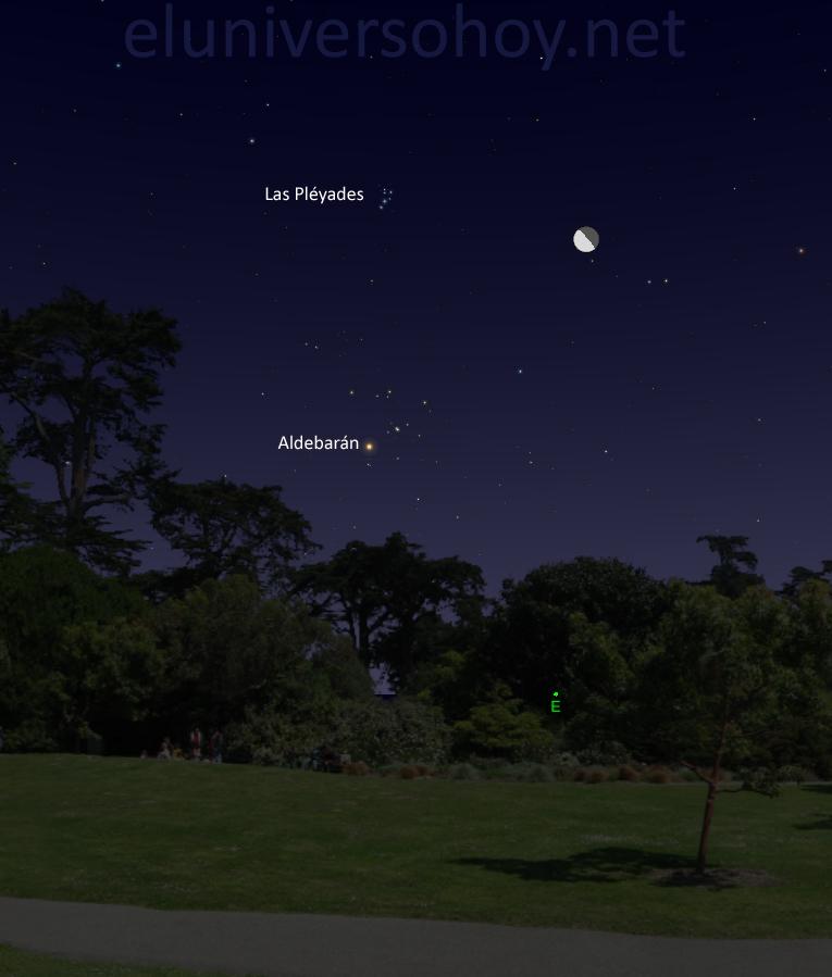 La conjunción de la Luna y las Pléyades será visible la madrugada...