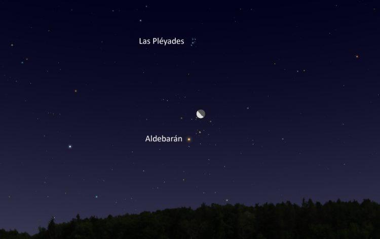 La conjunción de la Luna y la estrella Aldebarán será visible la...