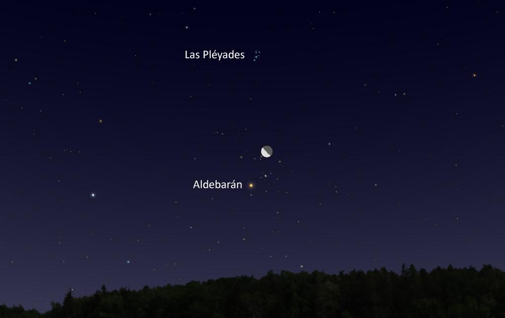 La conjunción de la Luna y la estrella Aldebarán será visible la madrugada del 24 de agosto
