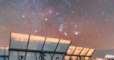 La constelación de Orión fotografiada desde Møn, Dinamarca