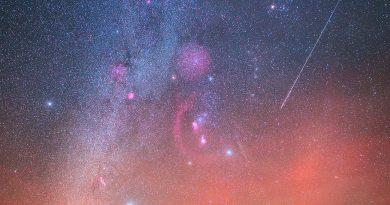 La constelación de Orión fotografiada desde los acantilados de Møn, Dinamarca