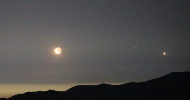 Fotos de la Luna y Venus tomadas desde Farellones, Chile