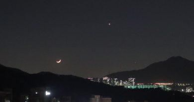 Foto de la conjunción de la Luna y Venus tomada desde Seongnam, Corea del Sur
