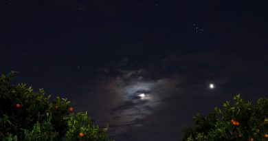 La conjunción de la Luna y Venus captada desde Mascalucia, Sicilia