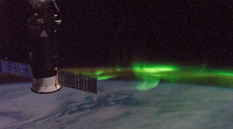Auroras australes fotografiadas desde la Estación Espacial Internacional