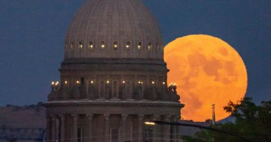 La salida de la Luna captada desde Boise, Idaho