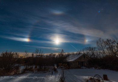 Halo lunar fotografiado desde Alberta, Canadá