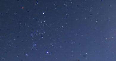 La constelación de Orión fotografiada desde North Wiltshire, Inglaterra