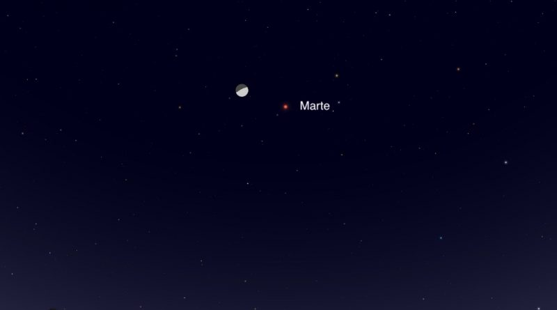 Esta noche se podrá observar la conjunción de la Luna y Marte