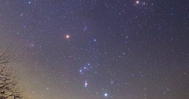 Fotografía de la constelación de Orión tomada desde Ontario, Canadá
