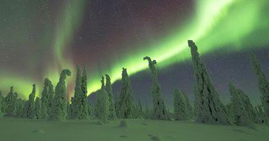 Auroras boreales fotografiadas desde Muonio, Finlandia