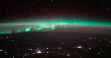 Auroras boreales fotografiadas sobre Rusia desde la ISS