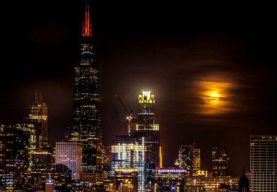 Foto de la Luna llena tomada desde Chicago, Illinois