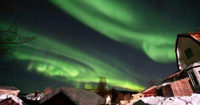 Auroras boreales fotografiadas desde Norbotnia, Suecia