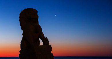 Foto de Júpiter tomada al amanecer en Long Branch, Nueva Jersey