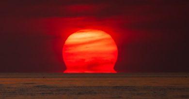 La puesta de Sol fotografiada desde Cayo Hueso, Florida