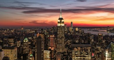 El atardecer fotografiado desde Manhattan, Nueva York