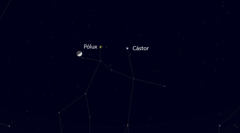 Esta noche se podrá observar la conjunción de la Luna con las estrellas Pólux y Cástor