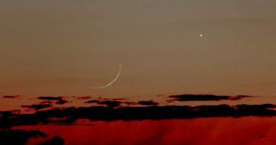 La Luna y Venus fotografiados al atardecer en Pennsylvania