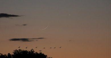 La Luna y Venus fotografiados desde Moorestown, Nueva Jersey