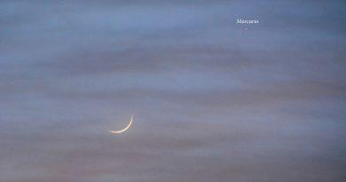 Foto de la Luna y Mercurio tomada desde Yunquera, Málaga