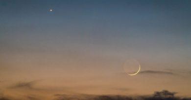 Foto de la Luna y Venus tomada desde Indiana, Estados Unidos