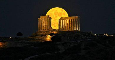La Luna llena y el Templo de Poseidón (Sunión, Grecia)