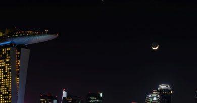 La Luna y Venus fotografiados desde Singapur